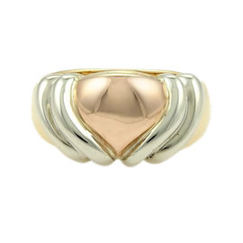 Bulgari 18K Yellow White & Rose Gold Heart Ring