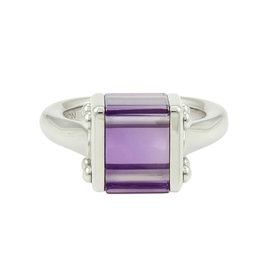 Louis Vuitton Unique 18k White Gold 9ct Amethyst Box Shape Cocktail Ring