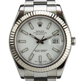 Rolex Datejust II White Dial Fluted 18k White Gold Bezel 116334 41mm Watch