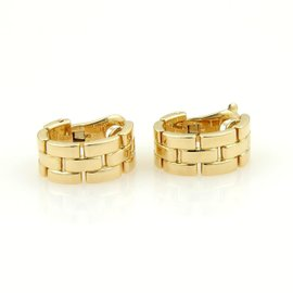 Cartier Maillon Panthere 18k Yellow Gold Oval Hoop Earrings