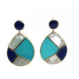 Ippolita 18K Yellow Gold Lapis Turquoise Mother of Pearl Deco Snowman Earrings