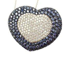 Pasquale Bruni 18K White Gold Onda Colore Diamond/Sapphire Necklace