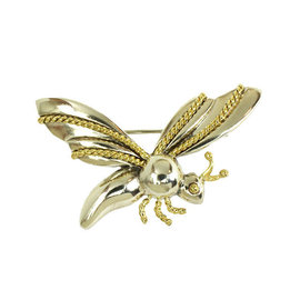 Tiffany & Co. Sterling Silver 18K Yellow Gold Fly Brooch