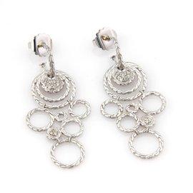 John Hardy Sterling Silver Diamond Circular Dangle Drop Earrings