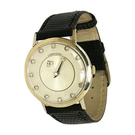 Vintage Longines 32mm 14K White Gold & Diamond Watch