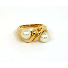 Bvlgari 18k Yellow Gold & Akoya Pearls Band Ring