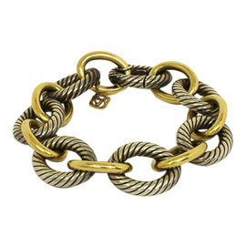 David Yurman Sterling Silver & 18K Gold Bracelet