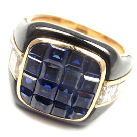 Piaget 18K Yellow Gold Diamond Invisible Set Sapphire Enamel Ring