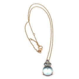 Pomellato Luna 18K Rose Gold Blue Topaz Pendant Necklace