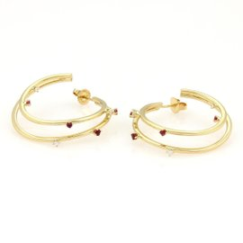 Tiffany & Co. 18K Y/G Diamonds & Rubies Double Hoop Earrings