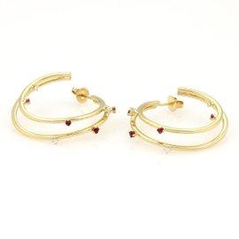 Tiffany & Co. 18K Y/G Diamonds & Rubies Double Hoop Earrings