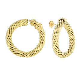 David Yurman 18K Yellow Gold Classic Cable Women's Hoop Earrings
