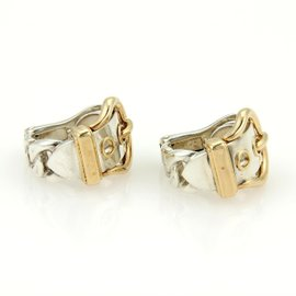 Hermes 18K Yellow Gold & 925 Silver Belt & Buckle Hoop Earrings