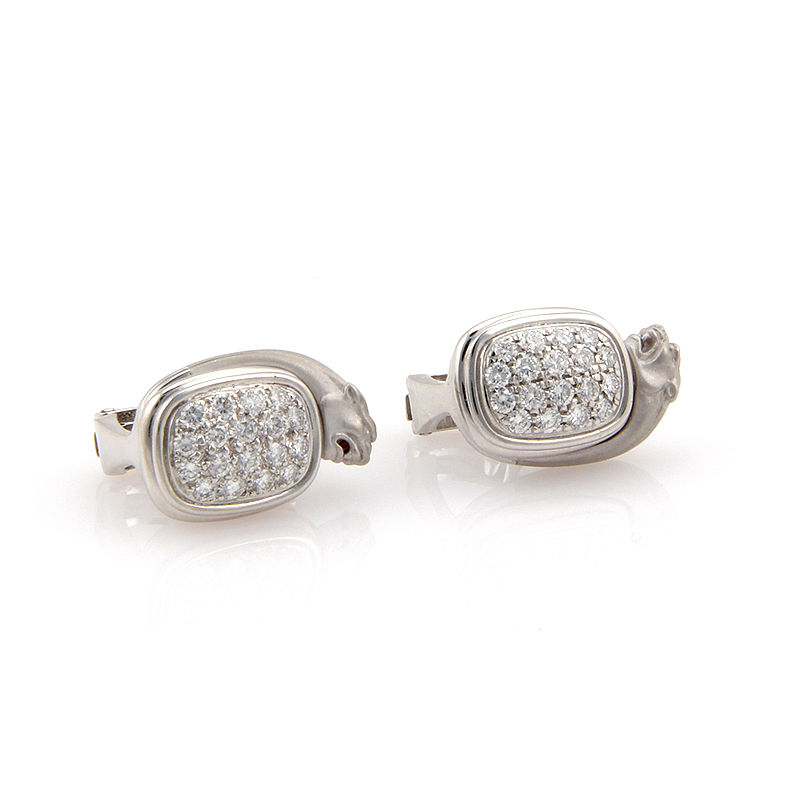 "Image of ""Carrera y Carrera 18K White Gold Pave Diamond Panther Earrings"""