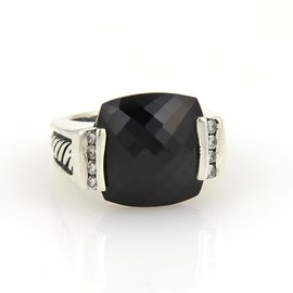 David Yurman Sterling Silver Diamonds & Black Onyx Ring