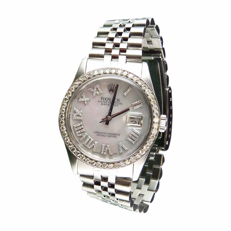 """Image of """"Rolex Datejust Jubilee White MOP Roman Number Dial Stainless Steel 36"""""""