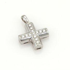 Bulgari 18K White Gold & Diamonds Cross Pendant