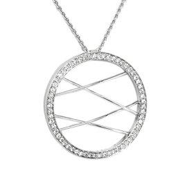 Movado 18K W-Gold & Diamonds Circle Of Life Pendant W/ Chain