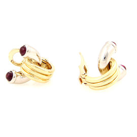Bulgari 18K White and Yellow Gold Ruby Clip On Earrings