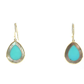 Ippolita 18K Gold Turquoise Brown Shell Teardrop Earrings Yellow Hook Small