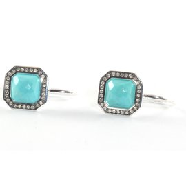 Ippolita Sterling Silver Turquoise Diamond Drop Earrings