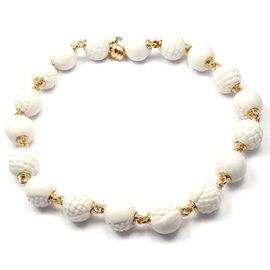 Bulgari Chandra 18K Yellow Gold White Porcelain Bead Necklace