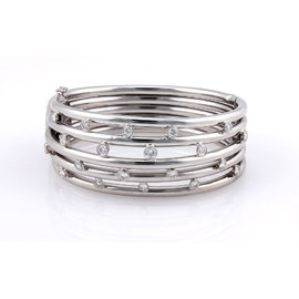 18K White Gold Italian 5 Row Diamond Bangle Bracelet