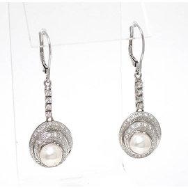 14K White Gold Pearls Diamond Drop Dangle Earrings