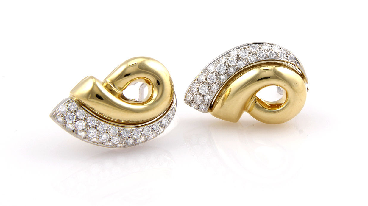 """""18K Yellow Gold Italian Pave Diamond Clip On Earrings"""""" 188953"