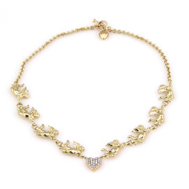14K Yellow Gold Cupid Link Diamond Heart Toggle Necklace
