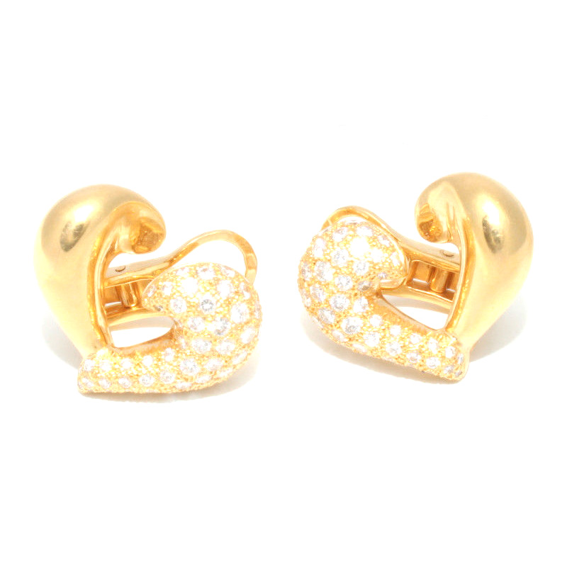 "Image of ""Van Cleef 18k Yellow Gold & Diamond Pave Heart Clip On Earrings"""