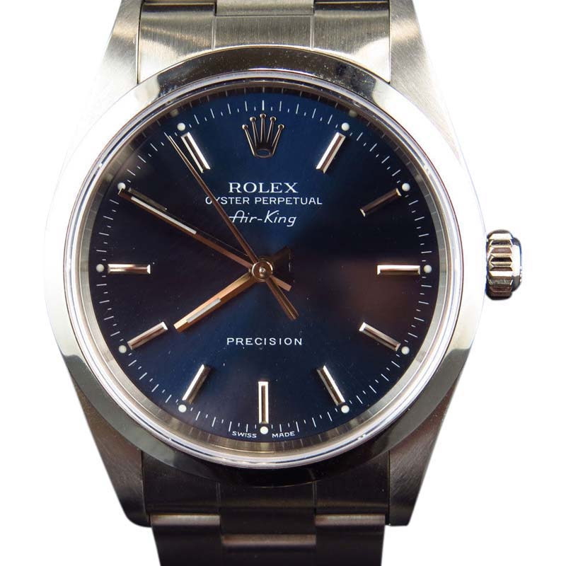"""Image of """"Rolex 14000 Air King Oyster Stainless Steel Blue Dial Mens 34mm Watch"""""""