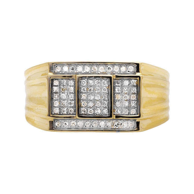 "Image of ""10K Yellow Gold Three Cube Window Composite Genuine Diamond Ring Band"""