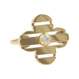 Louis Vuitton 18k Yellow Gold Petite Fleur Diamond Floral Ring