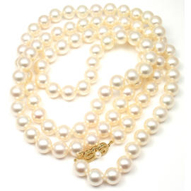 Mikimoto 18K Yellow Gold Cultured Akoya Pearl Necklace