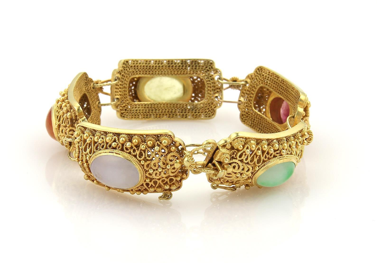 """""14K Yellow Gold Multi-Color Cabochon Jade Fancy Curve Link Bracelet"""""" 265789"
