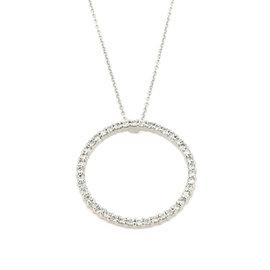 Roberto Coin 18K White Gold Tiny Treasures Diamonds Circle Pendant Necklace