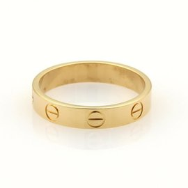 Cartier Mini Love 18K Yellow Gold Band Ring Size 6