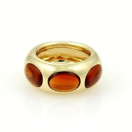 Pomellato 18K Yellow Gold Oval Shape Garnet Dome Band Ring