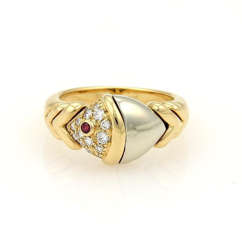 "Image of ""Buglari Naturalia Diamonds & Ruby 18K Two Tone Gold Fish Ring"""