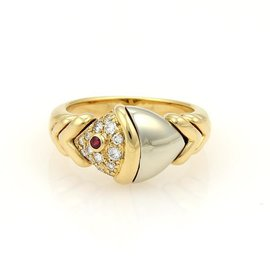 Buglari Naturalia Diamonds & Ruby 18K Two Tone Gold Fish Ring