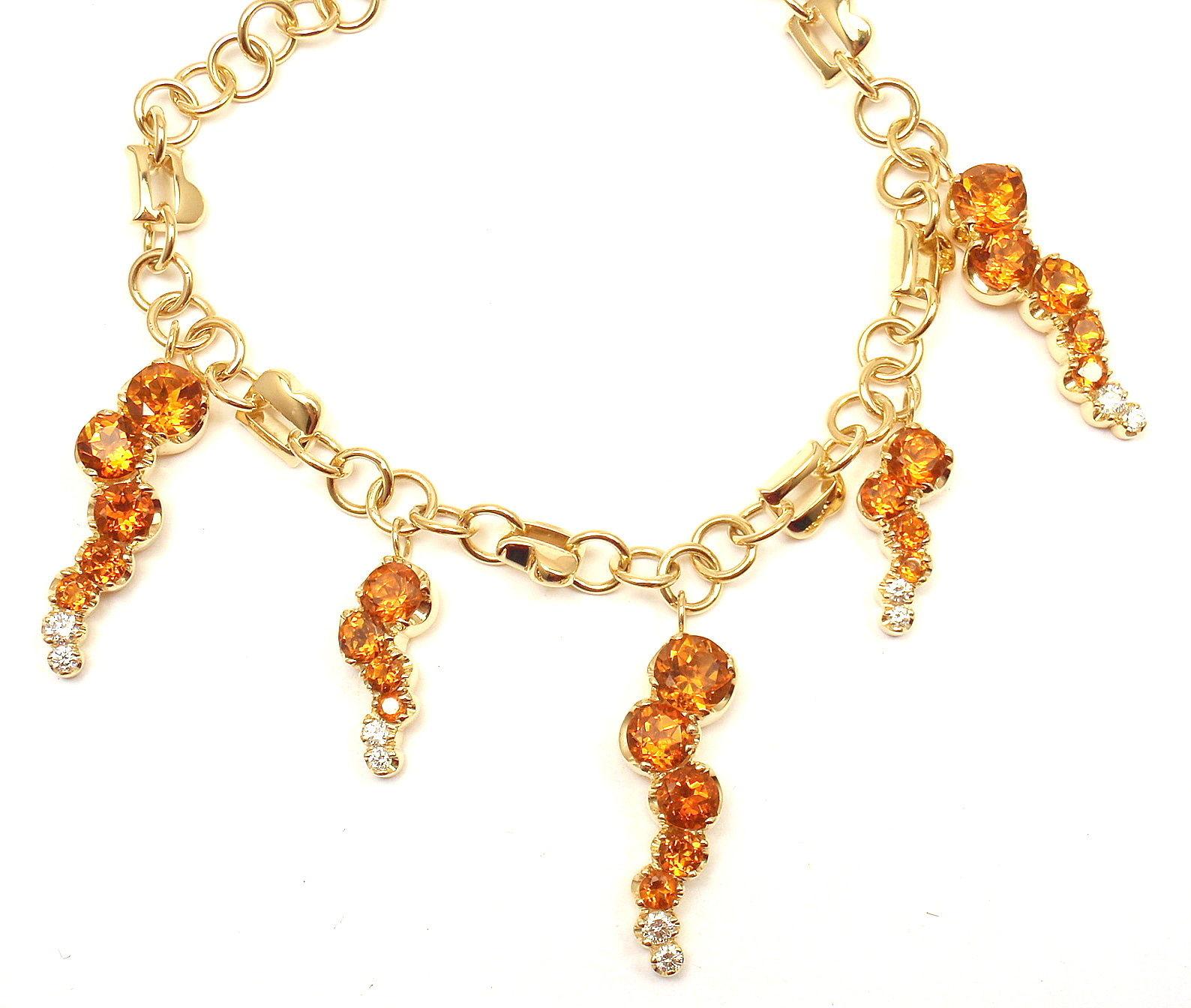 """""Pasquale Bruni 18K Yellow Gold Ray Sun Citrine Diamond Bracelet"""""" 301608"