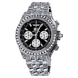 Breitling A44355 Black Dial 15Ct Natural Diamond Mens Watch
