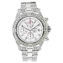 Breitling A13370 Super Avenger White Covered Over 13ct Diamond Watch