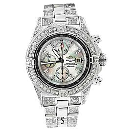 Breitling A13370 Super Avenger Mother Of Pearl Over 13ct Diamond Watch