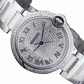 Cartier Ballon Bleu de Cartier Diamond Pave Dial Stainless Steel Watch