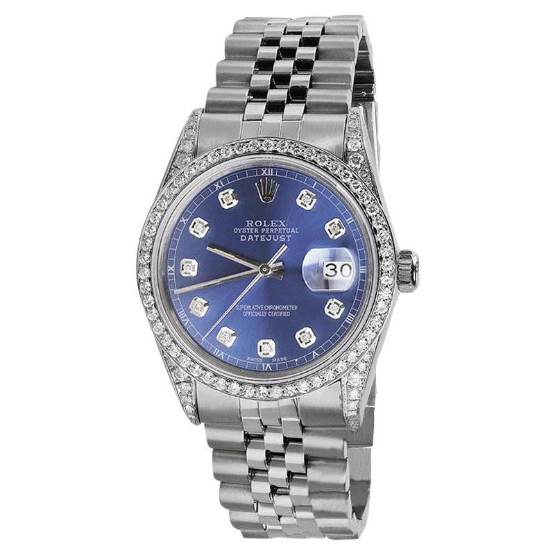 """Image of """"Rolex Datejust Stainless Steel Light Blue Diamond Dial 36mm Watch"""""""
