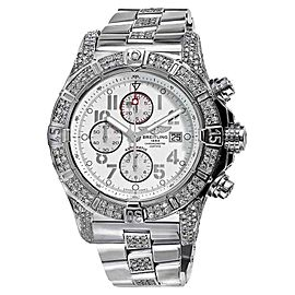 Breitling Super Avenger A13370 White Dial 48.4mm Mens Diamond Watch