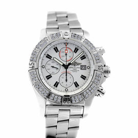 Breitling Super Avenger A13370 White Sticks Dial 2ct Bezel Watch