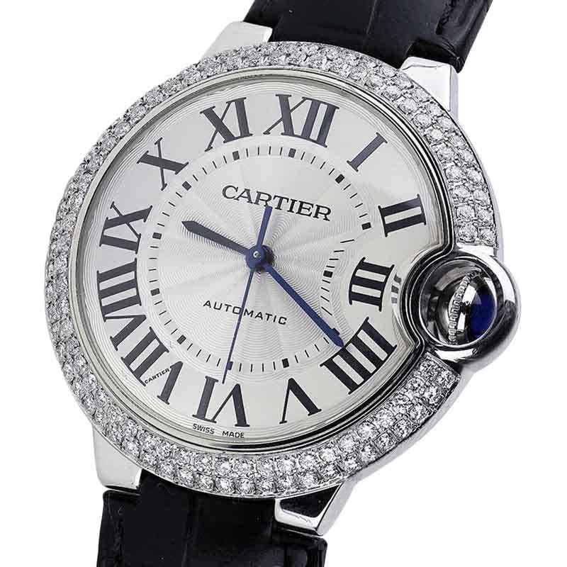 Cartier Ballon Bleu 42mm W69012Z4 Automatic Alligator Strap Watch